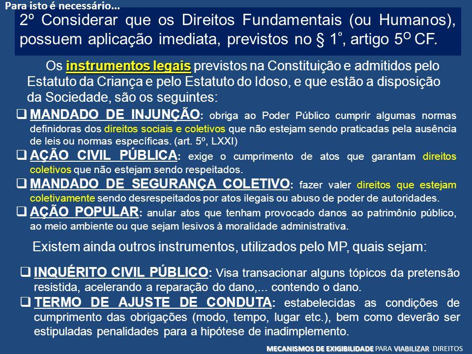 Para isto é necessário... 2º Considerar que os Direitos Fundamentais (ou Humanos), possuem aplicação imediata, previstos no § 1º, artigo 5O CF.