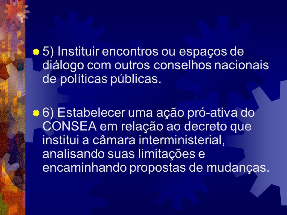 5) Instituir encontros ou espaços de diálogo com outros conselhos nacionais de políticas públicas.
