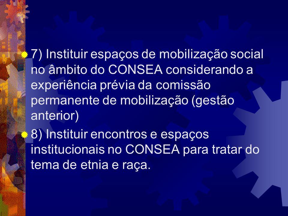 7) Instituir espaços de mobilização social no âmbito do CONSEA considerando a experiência prévia da comissão permanente de mobilização (gestão anterior)