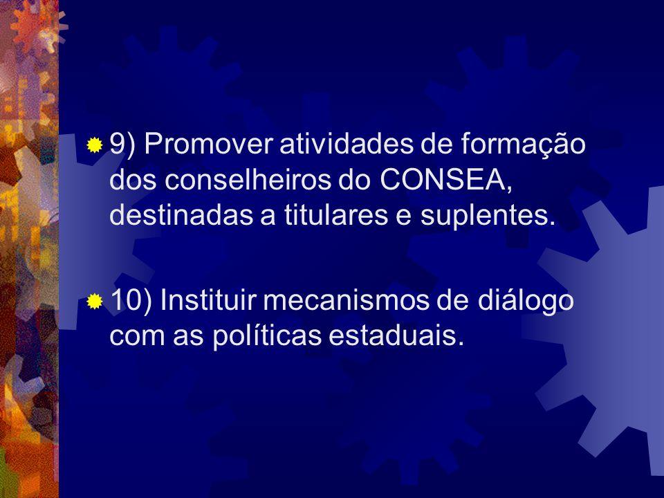 9) Promover atividades de formação dos conselheiros do CONSEA, destinadas a titulares e suplentes.
