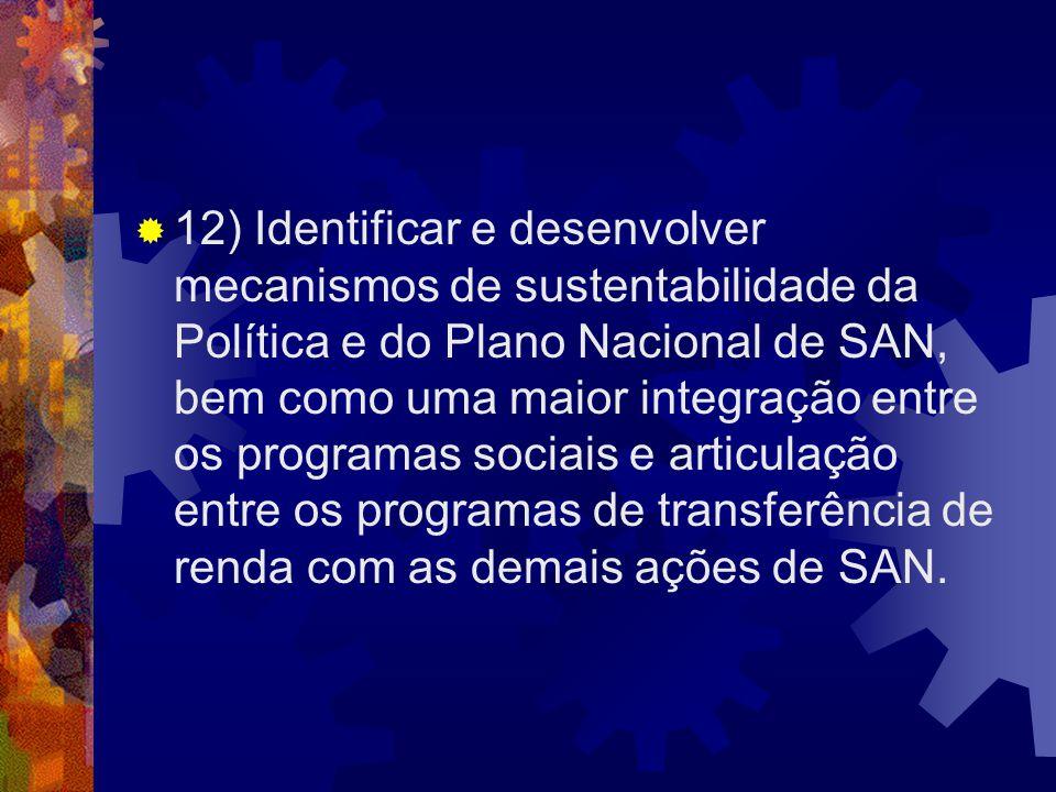 12) Identificar e desenvolver mecanismos de sustentabilidade da Política e do Plano Nacional de SAN, bem como uma maior integração entre os programas sociais e articulação entre os programas de transferência de renda com as demais ações de SAN.