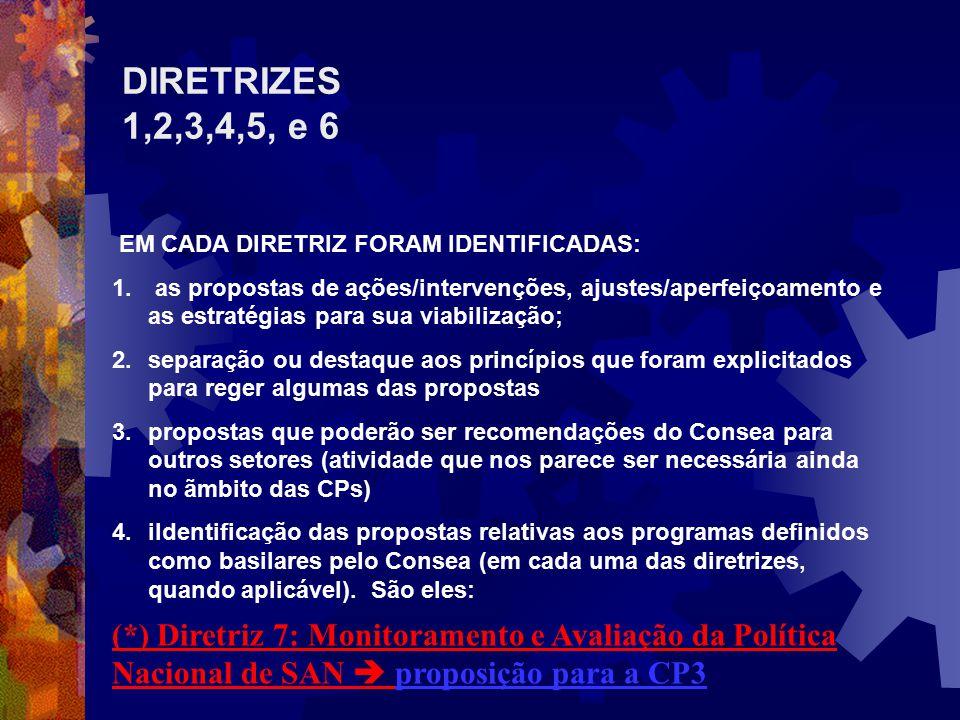 DIRETRIZES 1,2,3,4,5, e 6 EM CADA DIRETRIZ FORAM IDENTIFICADAS: