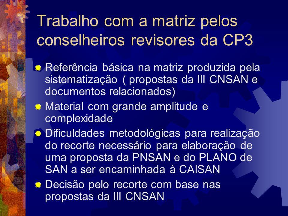 Trabalho com a matriz pelos conselheiros revisores da CP3