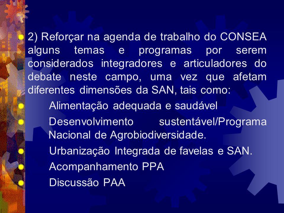 2) Reforçar na agenda de trabalho do CONSEA alguns temas e programas por serem considerados integradores e articuladores do debate neste campo, uma vez que afetam diferentes dimensões da SAN, tais como: