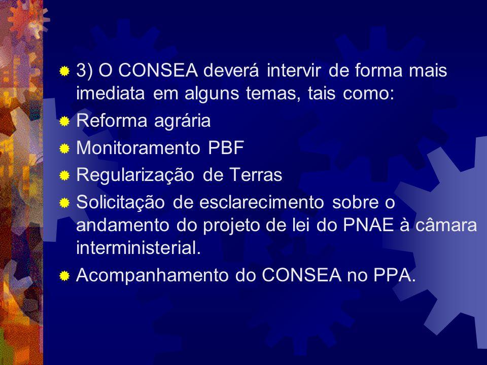 3) O CONSEA deverá intervir de forma mais imediata em alguns temas, tais como: