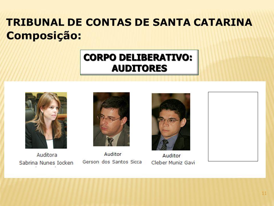 Composição: TRIBUNAL DE CONTAS DE SANTA CATARINA CORPO DELIBERATIVO: