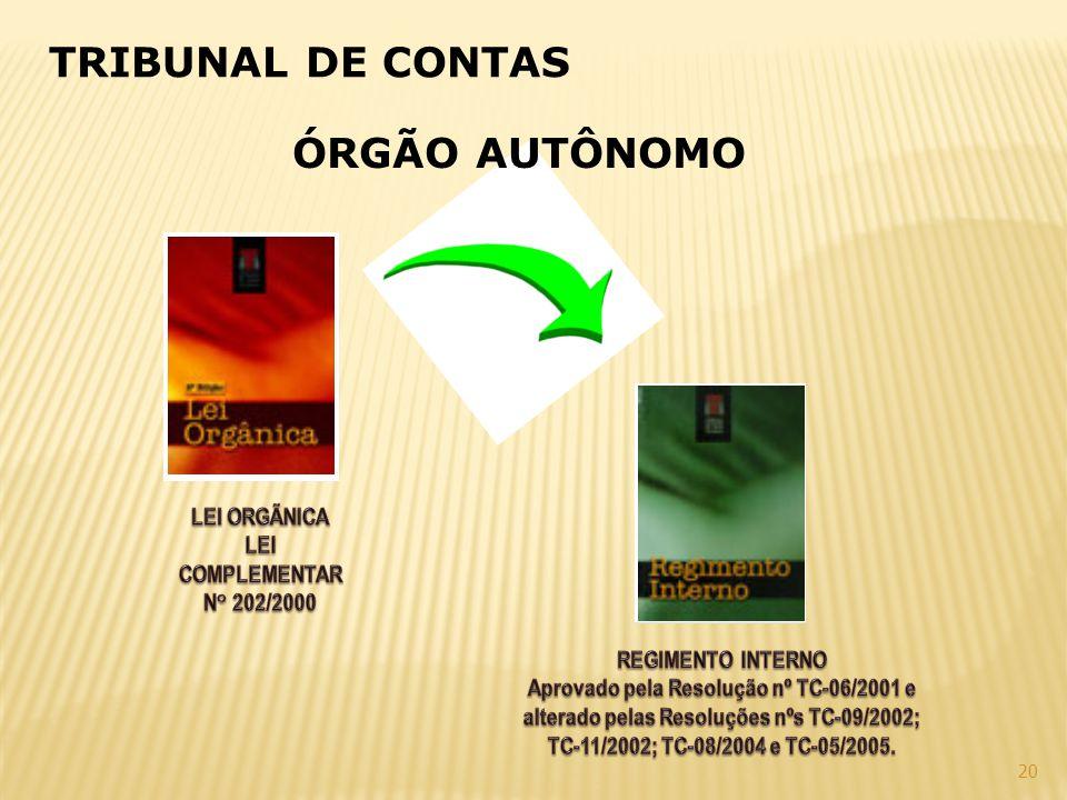TRIBUNAL DE CONTAS ÓRGÃO AUTÔNOMO LEI ORGÃNICA LEI COMPLEMENTAR