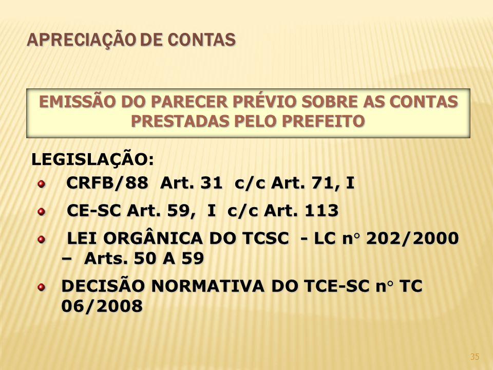 EMISSÃO DO PARECER PRÉVIO SOBRE AS CONTAS PRESTADAS PELO PREFEITO