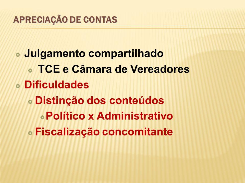 Julgamento compartilhado TCE e Câmara de Vereadores Dificuldades