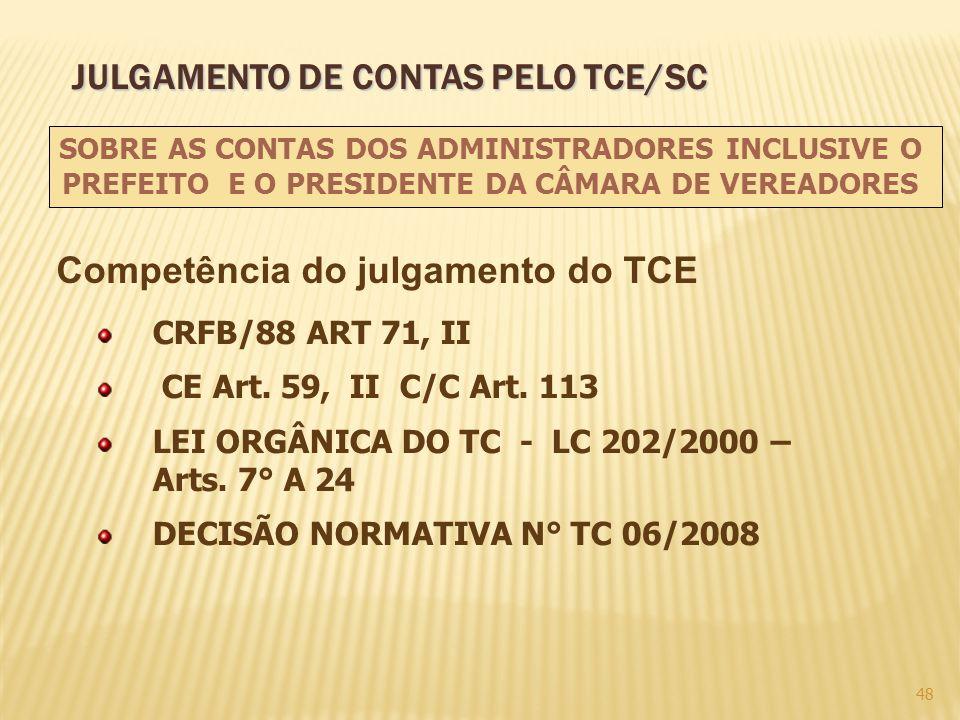 Competência do julgamento do TCE