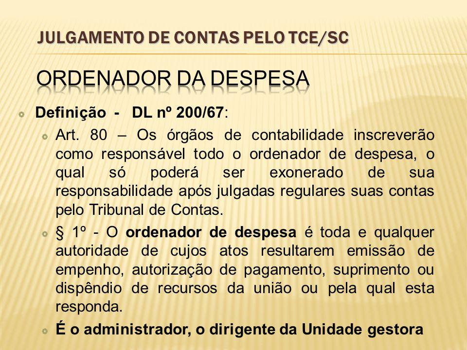 JULGAMENTO DE CONTAS PELO TCE/SC