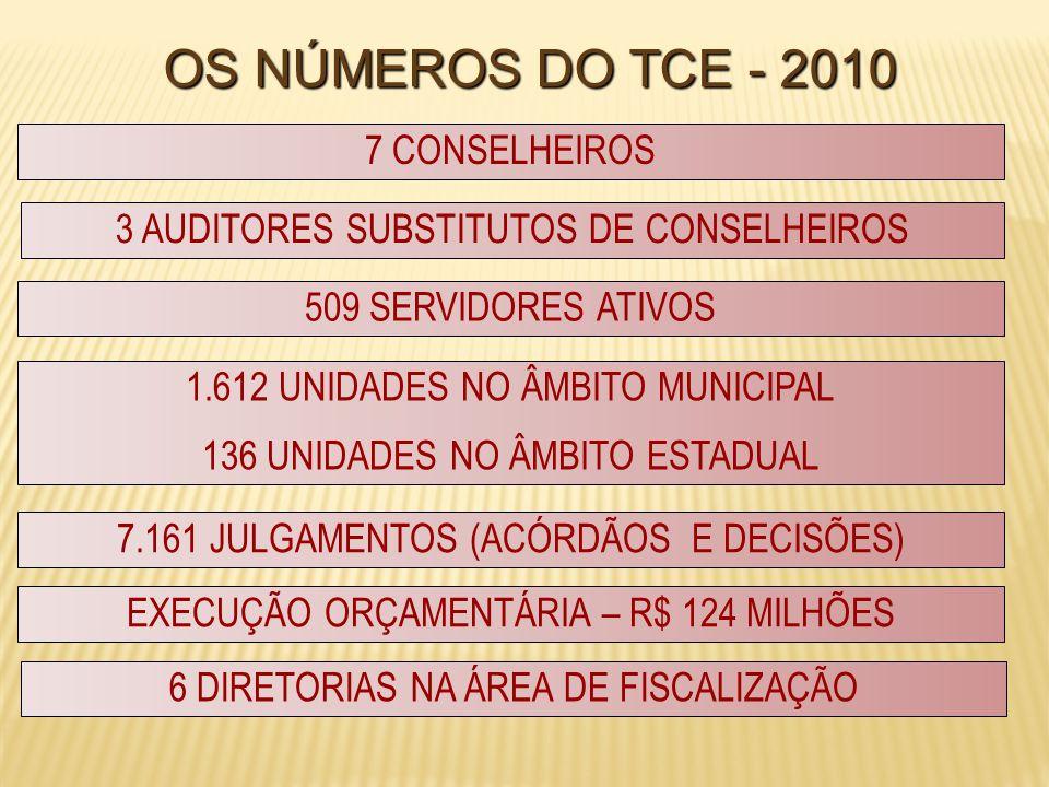 OS NÚMEROS DO TCE - 2010 7 CONSELHEIROS