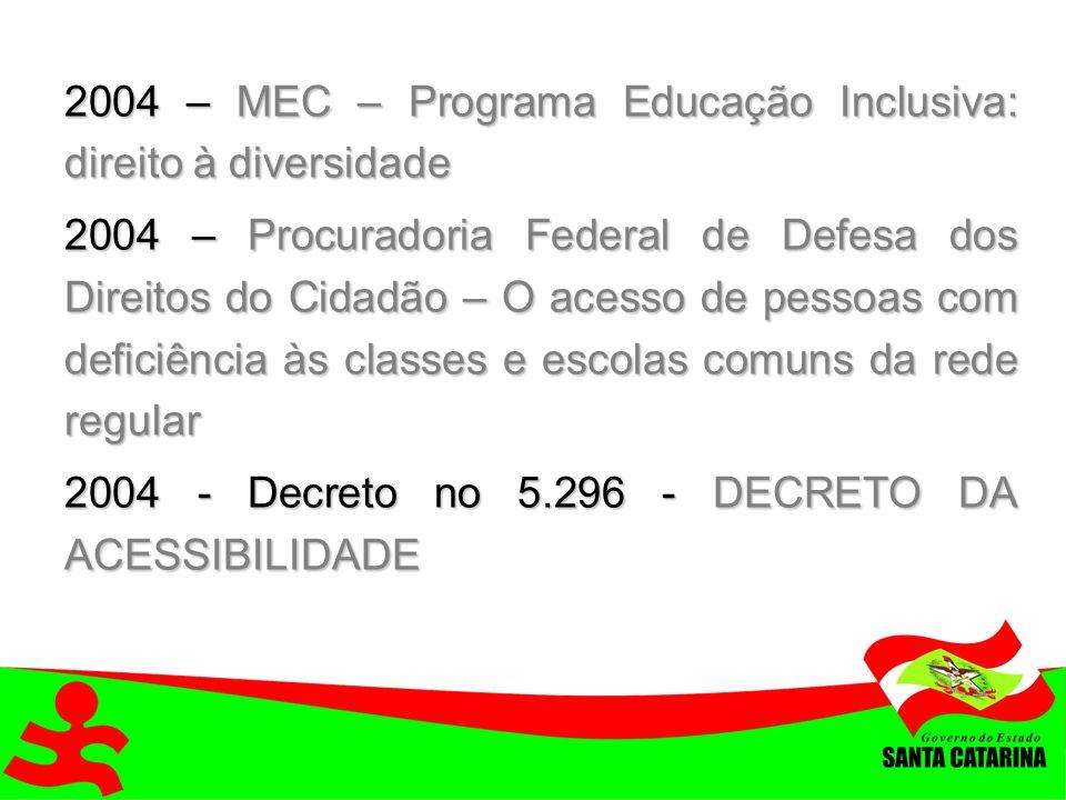 2004 – MEC – Programa Educação Inclusiva: direito à diversidade