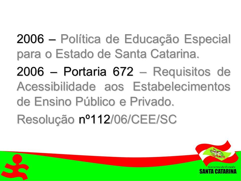 2006 – Política de Educação Especial para o Estado de Santa Catarina.