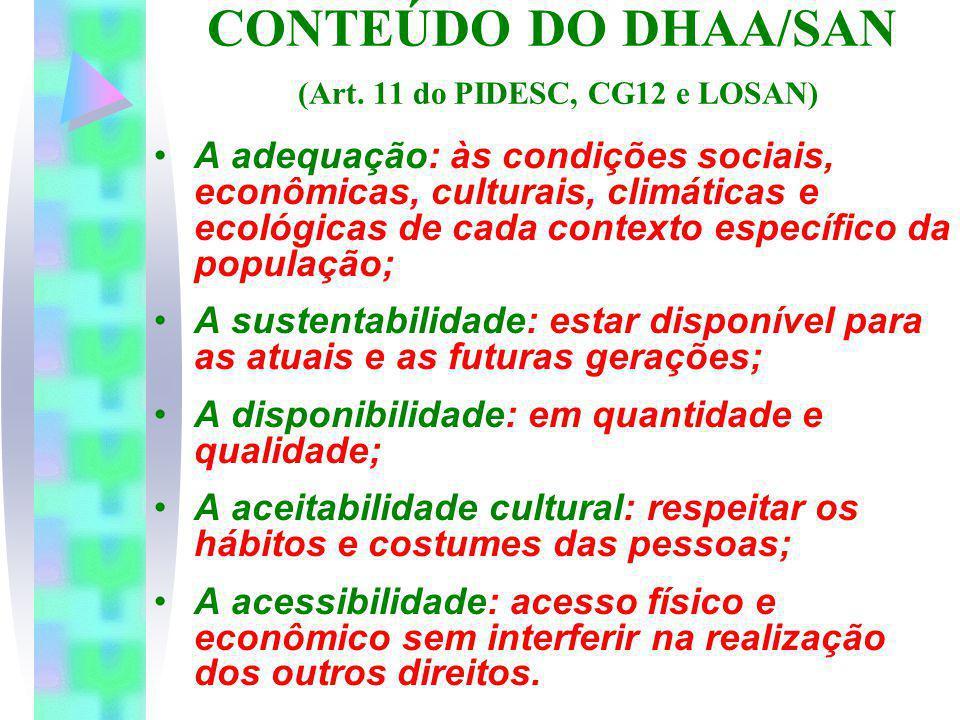 CONTEÚDO DO DHAA/SAN (Art. 11 do PIDESC, CG12 e LOSAN)