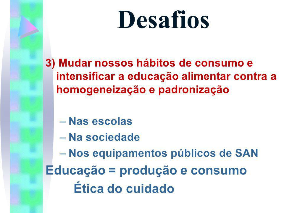 Desafios Educação = produção e consumo Ética do cuidado