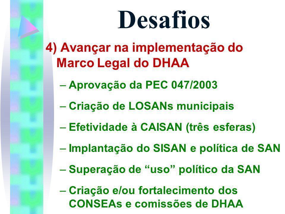 Desafios 4) Avançar na implementação do Marco Legal do DHAA