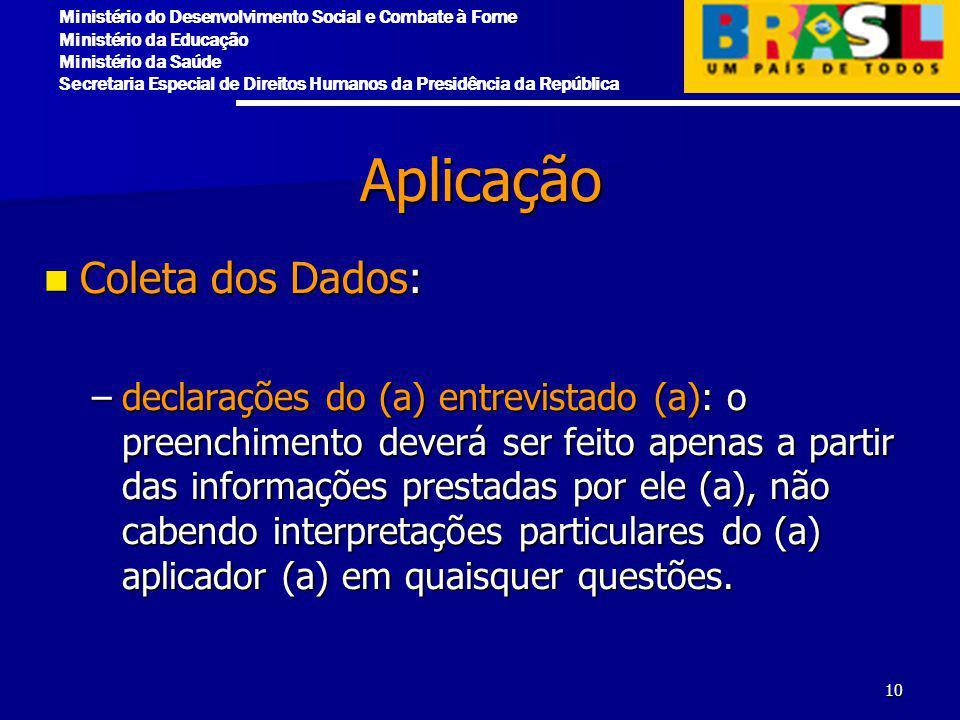 Aplicação Coleta dos Dados: