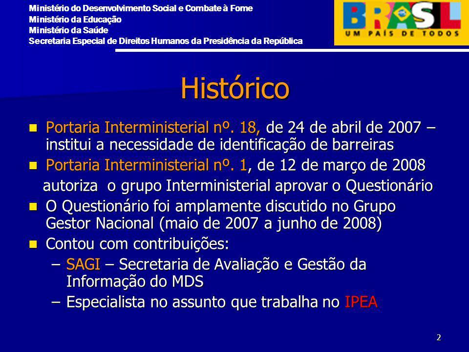 Histórico Portaria Interministerial nº. 18, de 24 de abril de 2007 – institui a necessidade de identificação de barreiras.