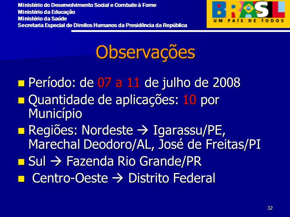 Observações Período: de 07 a 11 de julho de 2008