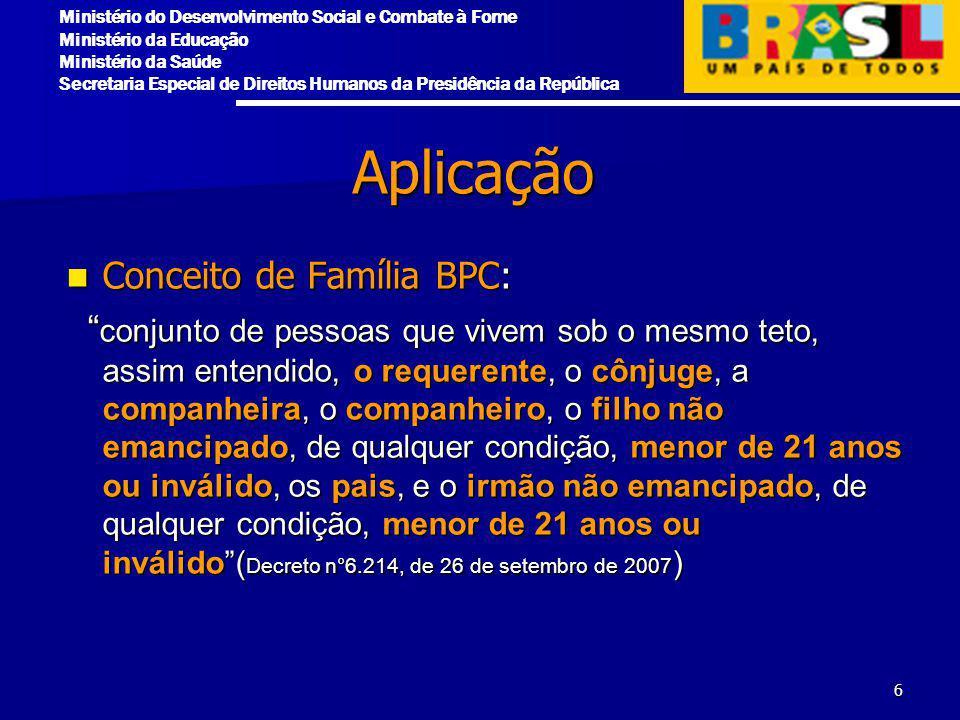 Aplicação Conceito de Família BPC: