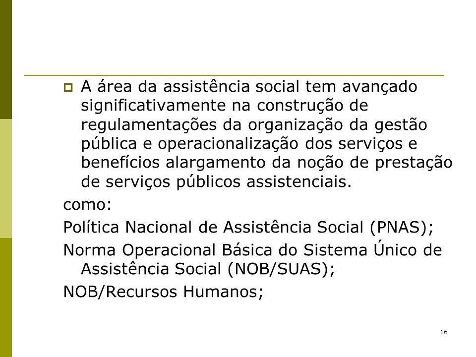 A área da assistência social tem avançado significativamente na construção de regulamentações da organização da gestão pública e operacionalização dos serviços e benefícios alargamento da noção de prestação de serviços públicos assistenciais.