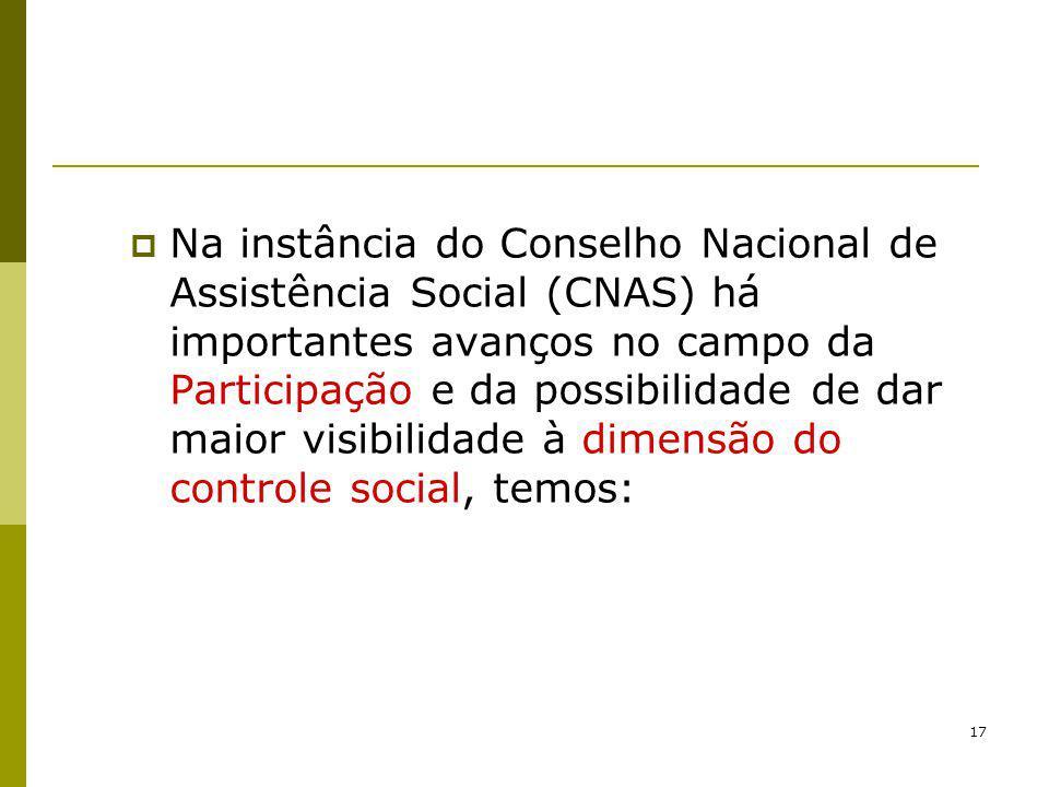 Na instância do Conselho Nacional de Assistência Social (CNAS) há importantes avanços no campo da Participação e da possibilidade de dar maior visibilidade à dimensão do controle social, temos: