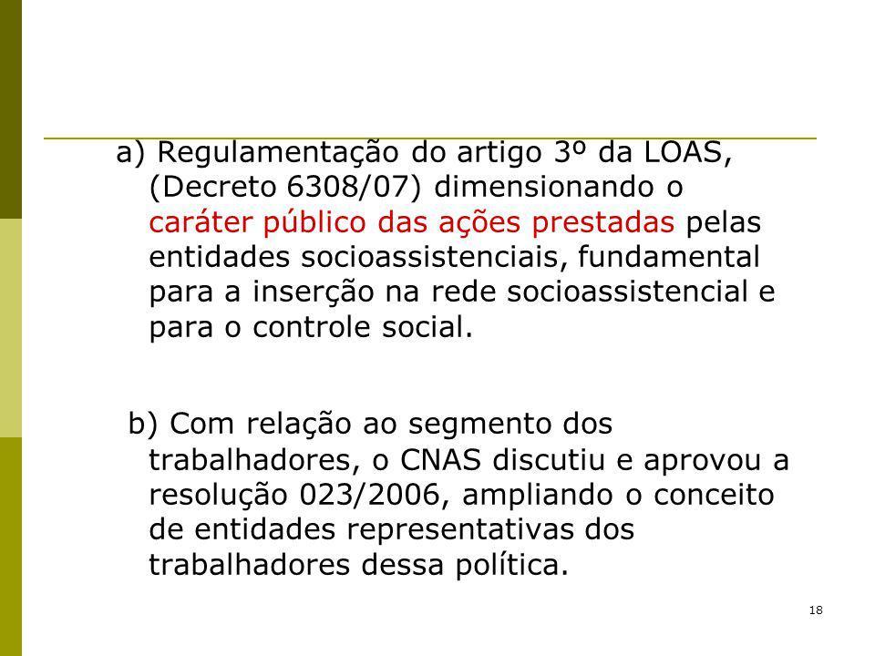 a) Regulamentação do artigo 3º da LOAS, (Decreto 6308/07) dimensionando o caráter público das ações prestadas pelas entidades socioassistenciais, fundamental para a inserção na rede socioassistencial e para o controle social.