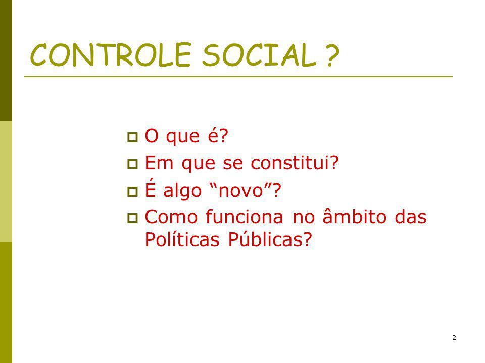 CONTROLE SOCIAL O que é Em que se constitui É algo novo