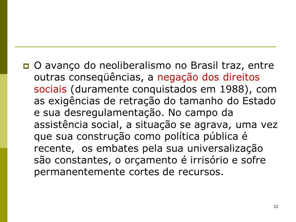 O avanço do neoliberalismo no Brasil traz, entre outras conseqüências, a negação dos direitos sociais (duramente conquistados em 1988), com as exigências de retração do tamanho do Estado e sua desregulamentação.