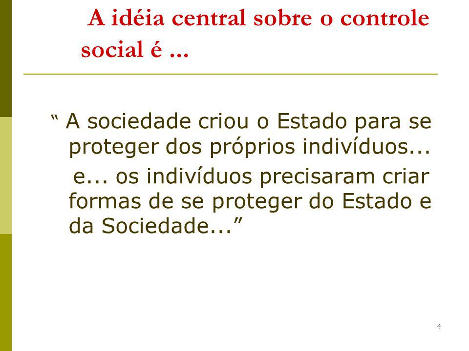 A idéia central sobre o controle social é ...