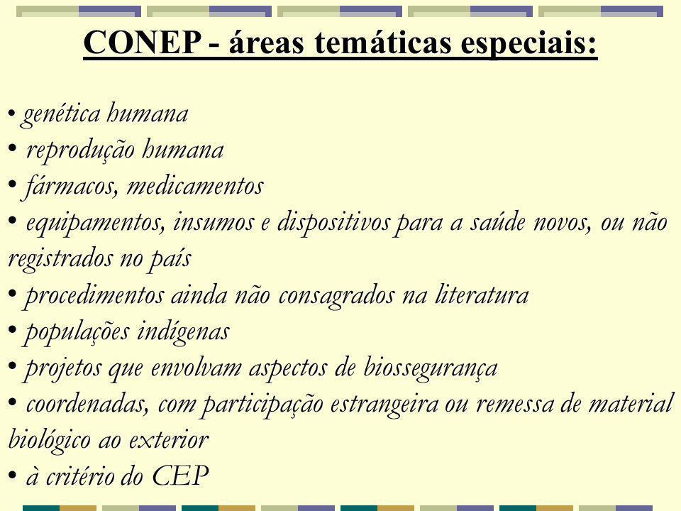 CONEP - áreas temáticas especiais:
