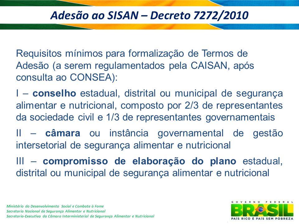 Adesão ao SISAN – Decreto 7272/2010