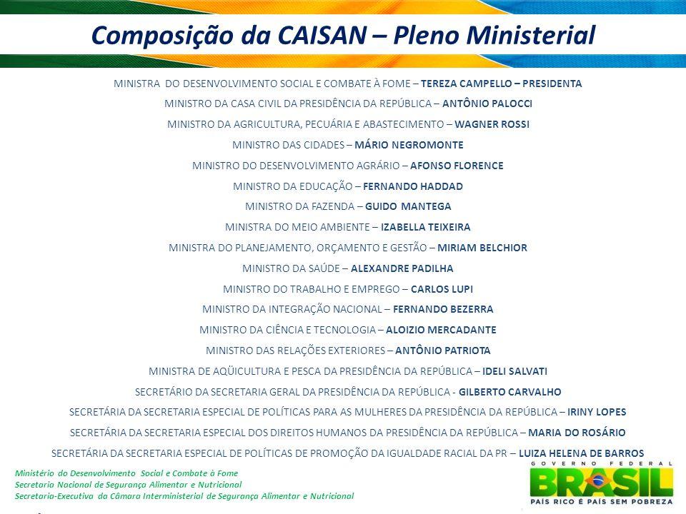 Composição da CAISAN – Pleno Ministerial