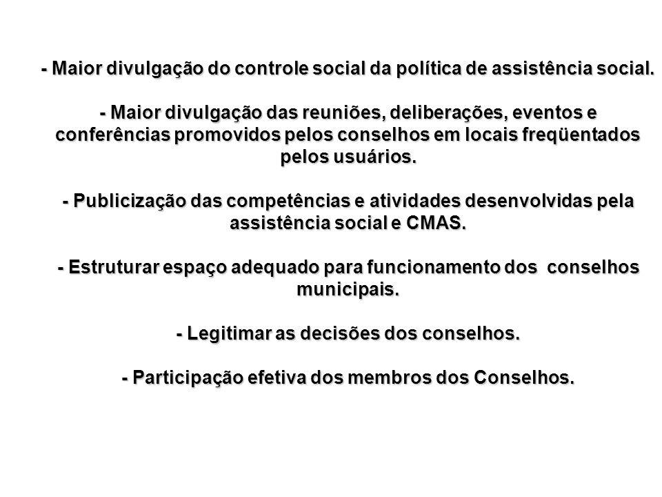 - Maior divulgação do controle social da política de assistência social.