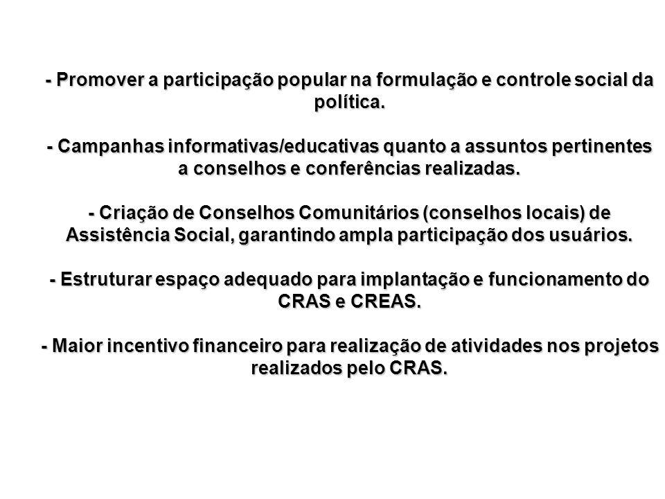 - Promover a participação popular na formulação e controle social da política.