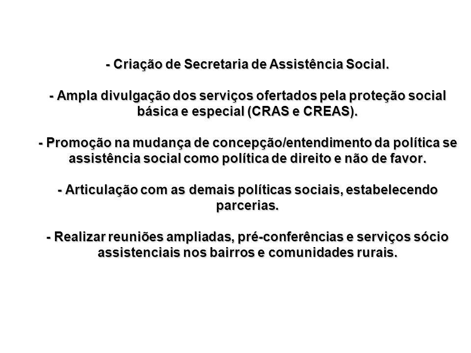 - Criação de Secretaria de Assistência Social