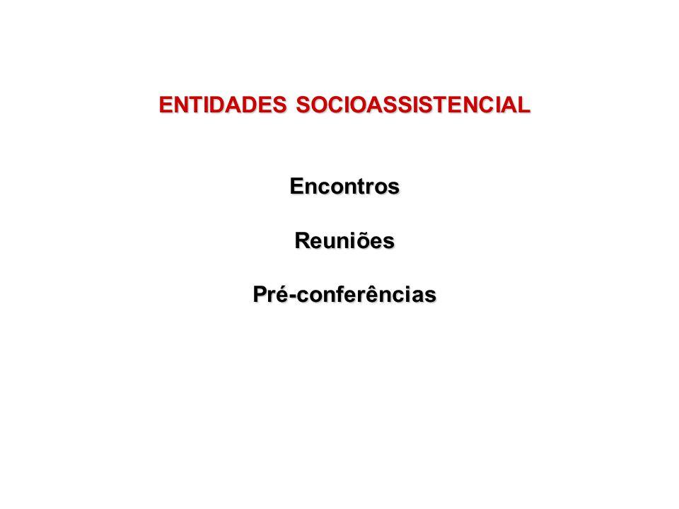 ENTIDADES SOCIOASSISTENCIAL Encontros Reuniões Pré-conferências