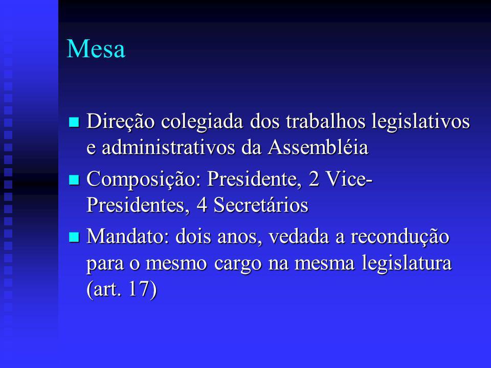 Mesa Direção colegiada dos trabalhos legislativos e administrativos da Assembléia. Composição: Presidente, 2 Vice-Presidentes, 4 Secretários.