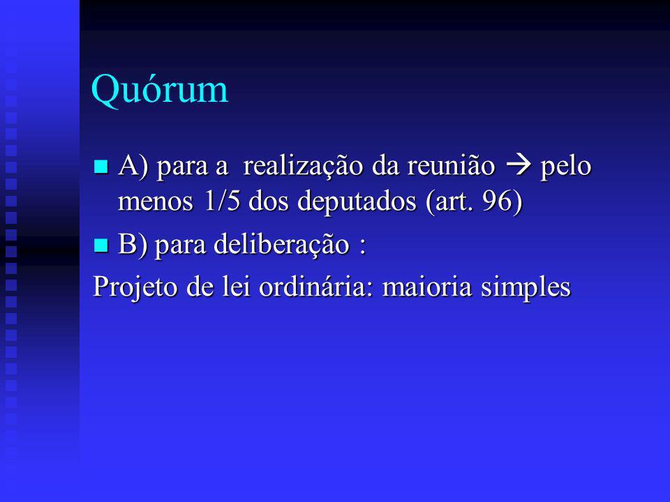 Quórum A) para a realização da reunião  pelo menos 1/5 dos deputados (art. 96) B) para deliberação :