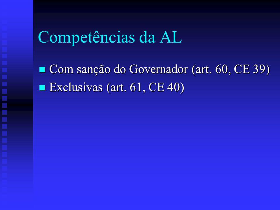 Competências da AL Com sanção do Governador (art. 60, CE 39)