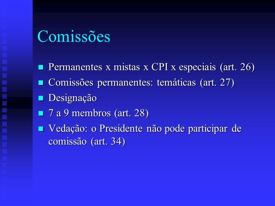 Comissões Permanentes x mistas x CPI x especiais (art. 26)