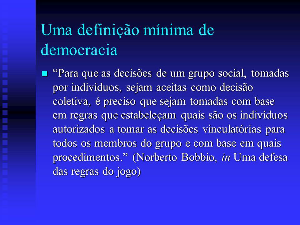 Uma definição mínima de democracia
