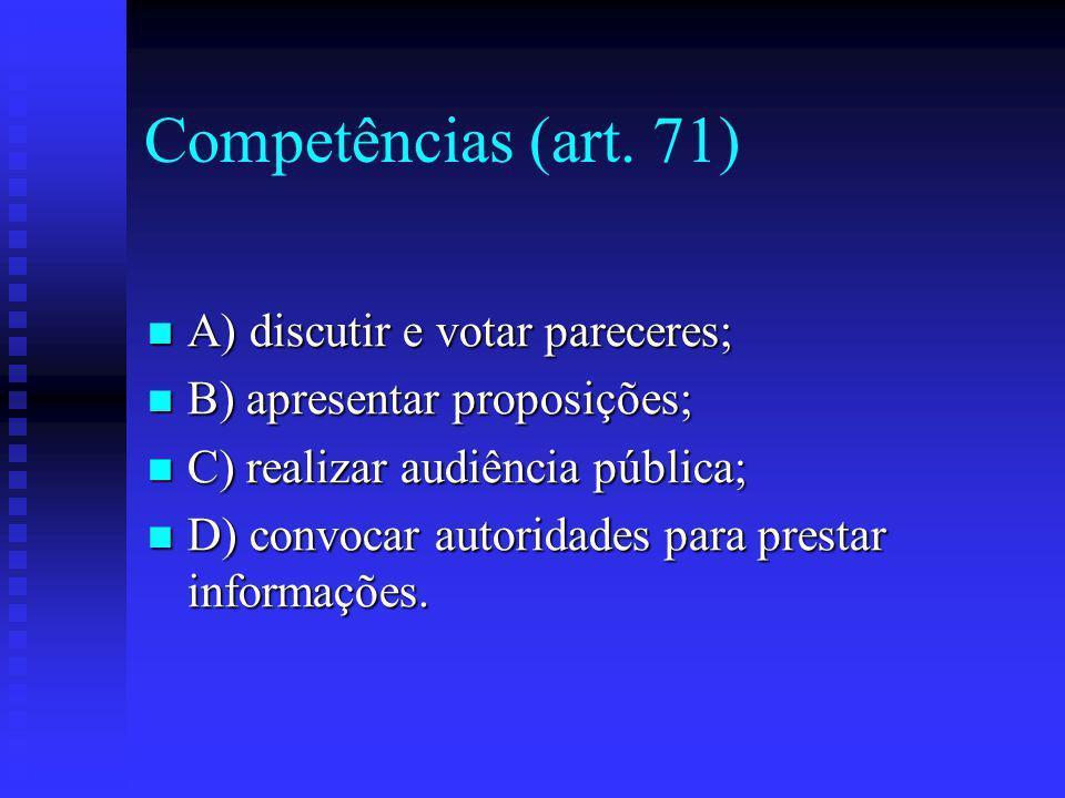 Competências (art. 71) A) discutir e votar pareceres;