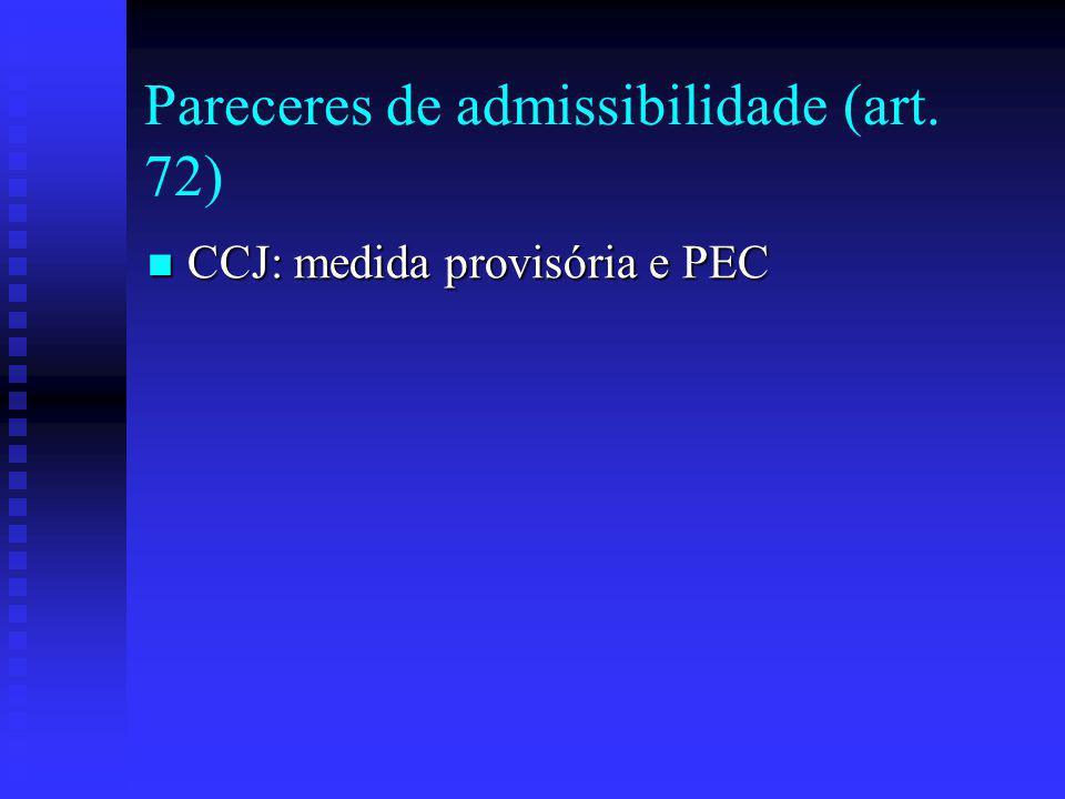 Pareceres de admissibilidade (art. 72)