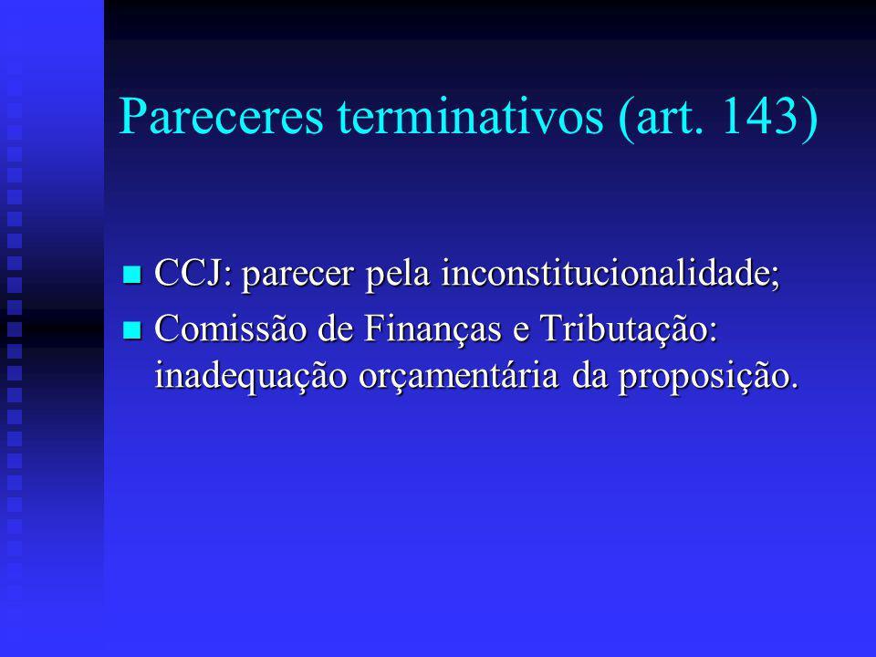 Pareceres terminativos (art. 143)