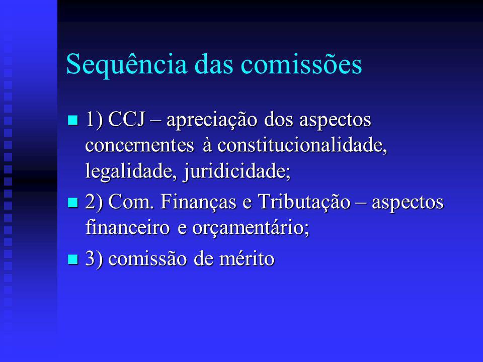 Sequência das comissões