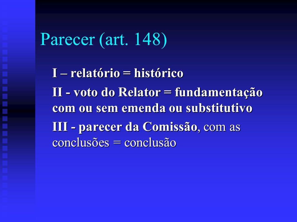 Parecer (art. 148) I – relatório = histórico