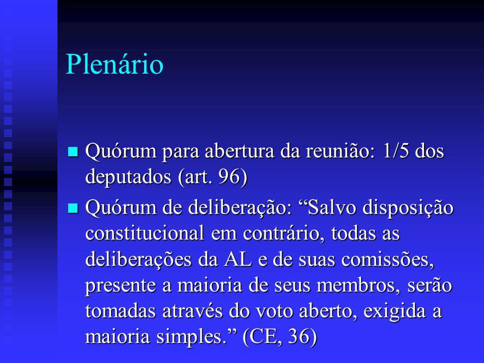 Plenário Quórum para abertura da reunião: 1/5 dos deputados (art. 96)