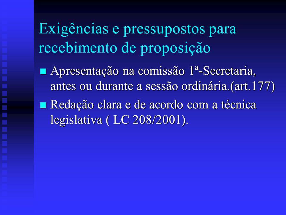 Exigências e pressupostos para recebimento de proposição